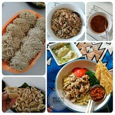 noodle with minched chicken + mushroom