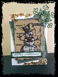 Tim Holtz Stamp and Sentiment. Stampendous Frantage in Black and Hunter. Image colored with Prismacolor Pencils.