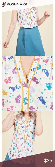 ModCloth Cafe au Soleil Zodiac Top Sold out on their site! NWT Cafe au Soleil Top with colorful zodiac signs. Plus Fashion, Womens Fashion, Fashion Tips, Fashion Trends, Jessica Day, New Girl, Modcloth, Zodiac Signs, Super Cute
