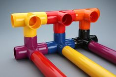 Colorized version of our Furniture Grade PVC fittings are now available. Color furniture grade PVC fittings have small up charge and are sometimes subject to a minimum order size. Both fittings and pipe are available in the new list of colors Pvc Pipe Furniture, Furniture Grade Pvc, Colored Pvc Pipe, Pvc Pipe Fittings, Pipe Manufacturers, Pvc Pipe Projects, Plumbing Problems, Dog Crafts, Colorful Furniture
