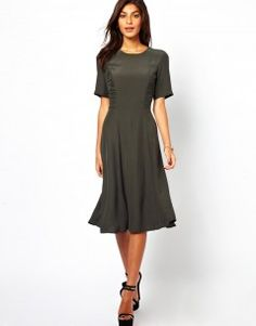 Midi Dress With Ruched Side Detail