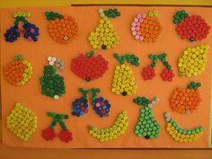 Ovoce z plastových víček Infant Activities, Preschool Activities, Lion Craft, Learning To Embroider, Menu Restaurant, Art Education, Crochet Earrings, Nutrition, Mandala