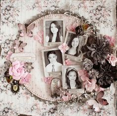This is Happiness ~ Vintage style siblings page with a lovely circular frame embellished with dimensional flowers and butterflies.