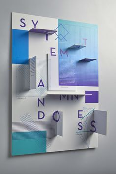 Interactive 3D poster design. Unique use of color, white space, and geometric shapes add further layers of dimension.