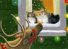 Kittens cats Rudolph reindeer Christmas window limited edition aceo print art #Miniature