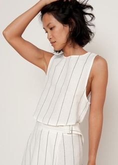 """Cropped, Tank Style Top w/Black Stitching Detail & Tie Back 100% Linen 16"""" Length, 33"""" Bust Hand Wash Imported"""