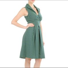 HOST PICK❤️eShakti Cotton Check Shawl Collar Dress Carefully placed tucks at the surplice bodice & a cinched empire waist create a look that is polished & put together in this cotton checked dress.  *Slips over head; side zip w/hook-and-eye closure *Low V neck, shawl collar, inner snap button closure. *Sleeveless *Banded waist, banded smocked back waist. *Box-pleat skirt. *Side seam pockets. *Knee length *Cotton, woven check, mid weight. *Machine wash.  RETAIL $69.95 + tax eShakti Dresses…