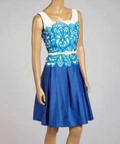 Another great find on #zulily! Blue & White Belted Swirl Fit & Flare Dress - Women by Cece's New York #zulilyfinds