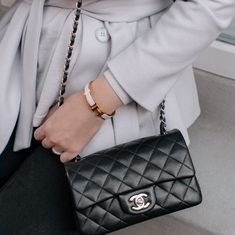 Chanel rectangular black mini flap and Hermès Clic bracelet