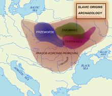 Archaeological cultures associated with proto-Slavs and early Slavs: Chernoles culture (before 500 BC), Zarubintsy culture (300 BC to AD 100), Przeworsk culture (300 BC to AD 400), Prague-Korchak horizon (6th to 7th century, Slavic expansion)