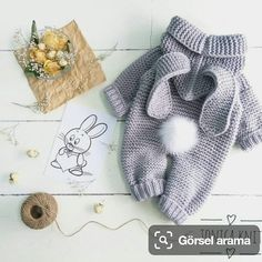 Diy Crafts - knitted baby romper, baby bunny costume, knitted baby clothes, newborn crochet outfit, baby winter c Winter Baby Clothes, Knitted Baby Clothes, Knitted Romper, Crochet Clothes, Crochet Outfits, Crochet Dresses, Babies Clothes, Babies Stuff, Crochet Bebe