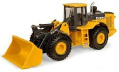 1:50 John Deere Wheel Loader by Ertl. $12.99. From the Manufacturer                Ertl, the worldwide leader in farm toys for over sixty years, is proud to offer this collection of durable John Deere toys.  Constructed of ultra durable die cast, this heavy duty machine features realistic moving parts, authentic decoration, and incredible detail. Perfect for indoor or outdoor play.. Save 13% Off!