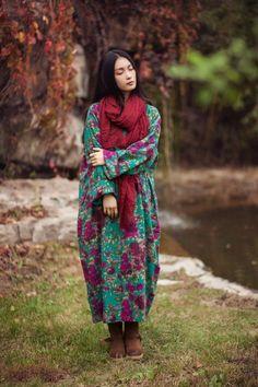 Dress - Women Winter Cotton Linen Lining Dress