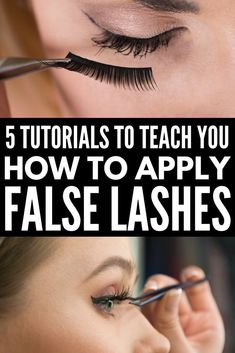 5 Tutorials to Teach You How to Apply False Eyelashes Properly | Looking for a good step by step video or tutorial for beginners to teach you how to apply false eyelashes? We've got you covered. We've rounded up 5 fabulous how-to tutorials that are loaded with different application tips, tricks, and hacks. We've included our favorite brands – full and individual – as well as some pointers on how to remove false lashes in a flash! #flaselashes #falseeyelashes #makeup #beauty #makeuptips