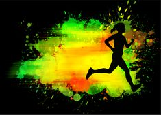 A poster for Displate of a runner. Splatter Art, Which One Are You, Print Artist, Cool Artwork, Poster Prints, World, Metal, Brushes, Green