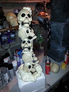 witch prop ideas with great stuff foam | Dollar tree skulls....great stuff foam filler.....stryofoam cooler ...