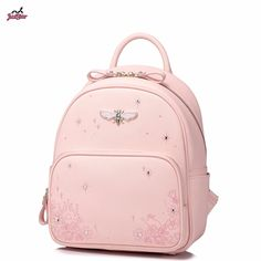 298f8d66a11c Just Star Brand Design Fashion Printing Diamonds Insect PU Women Leather  Ladies Girls Backpack Shoulders School