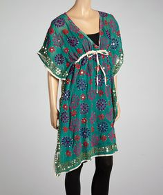 Look what I found on #zulily! Turquoise Pinwheel Silk V-Neck Tunic by Raj Imports #zulilyfinds