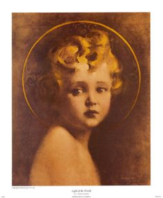 Jesus as a young child. Painted by Charles Bosseron Chamber. Titled, Light of the World
