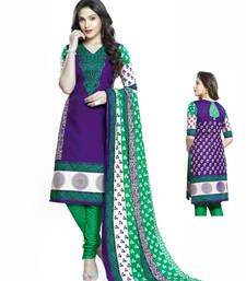 Buy Purple Cotton printed semi stitched salwar with dupatta cotton-salwar-kameez online