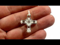 Materials used : white miyuki seedbeads silver plated miyuki seedbeads white miyuki seedbeads (loop) best made with wildfire and size 13 needl. Beaded Jewelry Patterns, Beading Patterns, Bracelet Patterns, Jewelry Illustration, Beaded Cross, Necklace Tutorial, Beaded Ornaments, Bead Jewellery, Beads And Wire