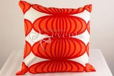 Red, Orange and White Retro Cushion