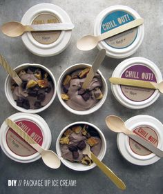 Vegan Chocolate Ice Cream & DIY Packaging~~~~~ OK so is so cute! You get to make your own very simple creamy ice cream recipe with only 3 ingredients and you get to make your own giveaway packaging? Diy Ice Cream, Ice Cream Treats, Vegan Ice Cream, Frozen Desserts, Frozen Treats, Vegan Desserts, Vegan Sweets, Vegan Recipes, Ice Cream Packaging