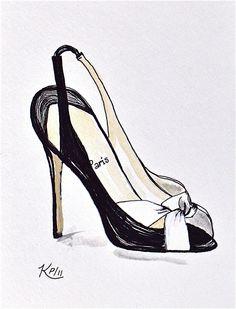 Original Fashion Illustration: pen and ink designer shoe sketch. $19.00, via Etsy.
