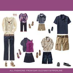 Family portrait clothing - denim, khaki, cream, magenta.