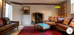 Sitting room at Keep Cottage - a nod to mid-century and mulberry. Book this self catering holiday cottage