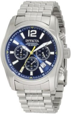 Invicta Men's 10627 Specialty Chronograph Blue Dial Stainless Steel Watch Invicta. $99.89. Japanese quartz movement. Water-resistant to 100 m (330 feet). Flame-fusion crystal; brushed stainless steel case and bracelet. Chronograph functions with 60 second, 60 minute and 24 hour subdials; date function. Blue dial with silver tone hands, hour markers and arabic numeral 12; yellow second hand; luminous. Save 83%!