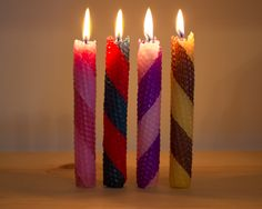 striped rolled beeswax candles                                                                                                                                                                                 More