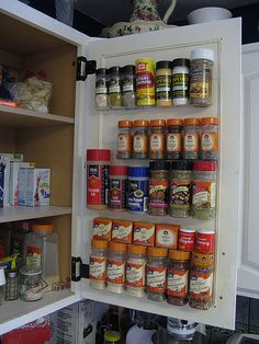 Velcro spice rack...think of all the shelf space this would free up and the time it would save.  No more digging back through the spices; everything would be visible.