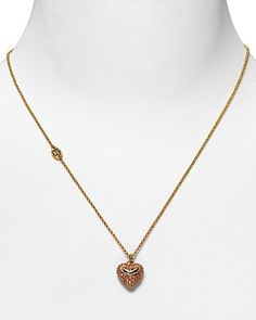 """Juicy Couture Women's Pave Puffed Heart Wish Necklace 15"""" 
