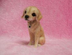 Needle Felted Labrador Retriever Puppy : Cute Miniature Wool Felt Dog