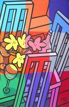 """Kleurrijke met de hand gesigneerde en genummerde (oplage 99 zeefdrukken) zeefdruk van Jacqueline Schäfer met als titel """"Stilleven met tafel en stoelen"""". Het beeldformaat bedraagt  64 x 97 cm. De zeefdruk is op dik kartonachtig papier gedrukt."""