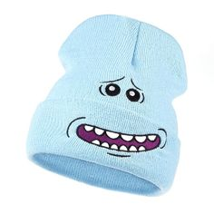 f5bbb70441d17 Mr. Meeseeks Knitted Hats Winter Rick and Morty Anime Caps Warm Cartoon  Loveliness Beanie Outdoor Sport Skiing knit Hats Skullie