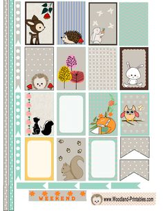 FREE Printable Woodland Animals Stickers for Happy Planner