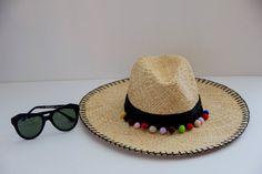 bikini guide, karen walker sunglasses, dupes, pom pom straw hat, pom pom