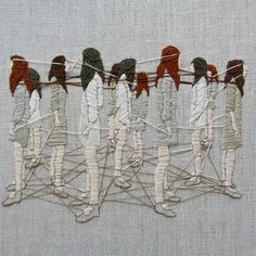 "Michelle Kingdom embroiders tiny worlds that aim to unravel our inner perceptions. Using delicate threaded details, Kingdom fabricates curious scenes depicting rituals and strange, wandering characters. Seeking to explore the ""psychological landscape"" that is littered with inner voices and unspoken thoughts, her deft embroidery weaves its way into ones psyche. The self-taught embroiderer specializes in her own style of the craft, using tiny stitches to essentially draw with the fibers…"