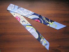 Blue Navy Blue Red Yellow White Silk Twilly Scarf Handbag Tie Silk Tie 100% Silk Scarf - Floral and Belt Strap Heart Print 40in x 2in (100 x 5cm) - Premium Quality