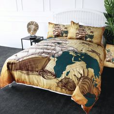 High Quality Bedding Outlet World Map Bedding Set Vivid Printed Bed Duvet Cover with Pillowcase Twill Cozy Home Textiles Queen Sizes Duvet Bedding, Bedding Sets, Map Quilt, Curtain For Door Window, Bed Duvet Covers, Drapes Curtains, Cozy House, Home Textile, Bed Spreads