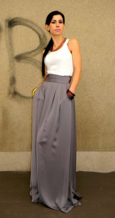 Long Grey Silki Maxi skirt  with Pockets and Slits/ Highwaisted Belt Summer Long Skirt/Gray Silk Skirt by EvoletFashion on Etsy https://www.etsy.com/ca/listing/219124429/long-grey-silki-maxi-skirt-with-pockets