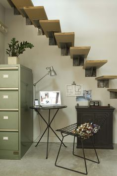 small under-stairs desk space