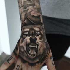 Wolf Hand Tattoo For Men