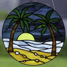 Stained glass beach at sunset suncatcher, stain glass palm tree window, beach glass on Etsy