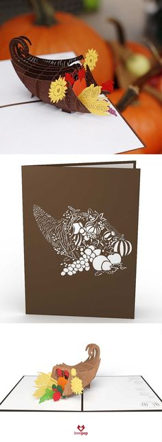 Delight your dinner hostess this Fall with a cornucopia pop up card. #Harvest