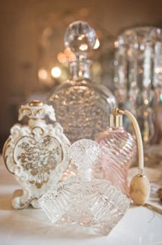 French Rose: collection of vintage perfume bottles. Perfect for your unique wedding perfume. www.weddingscentsperfumes.co.uk