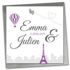 Les-Libellules - Le ciel de Paris - Faire Part de Mariage - Faire part couleur violet, gris, argent avec image et motif tour Eiffel, mongolfière, avion, coeur, pour theme romantique, vintage, boudoir