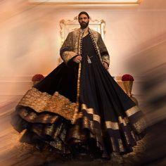 "Manish Malhotra World on Instagram: ""Imbibe a sense of Awadhi regalia in our palatial Angrakha. A timeless attire that displays arduous craftsmanship with its intricate zardosi…"" Zardosi Embroidery, Man Skirt, Manish Malhotra, Red Carpet Event, Indian Attire, Fashion Forward, Bollywood, Kilts, Celebrities"